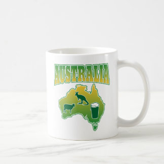 Australia Sheep Beer and Kangaroos Map Coffee Mug