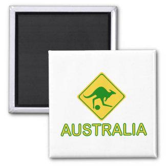 Australia Soccer Kangaroo Square Magnet