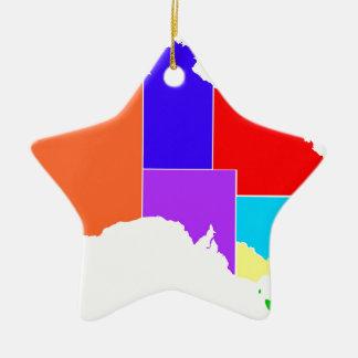 Australia States In Colour Silhouette Ceramic Star Decoration