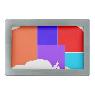 Australia States In Colour Silhouette Rectangular Belt Buckles