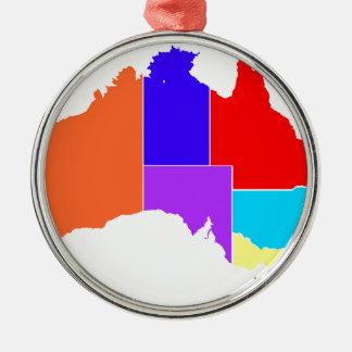 Australia States In Colour Silhouette Silver-Colored Round Decoration