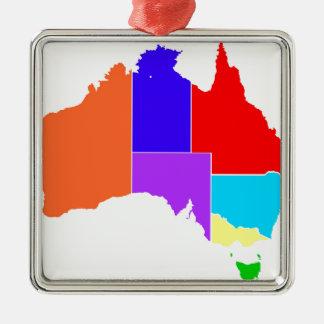 Australia States In Colour Silhouette Silver-Colored Square Decoration