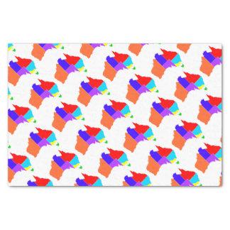 Australia States In Colour Silhouette Tissue Paper