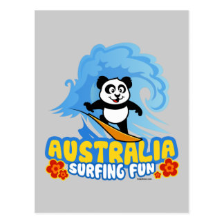Australia Surfing Panda Post Card