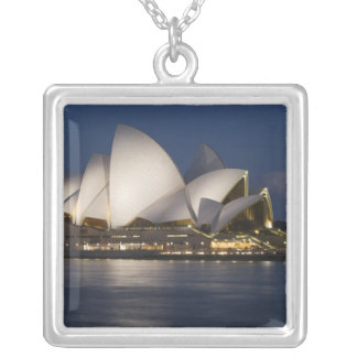 Australia, Sydney. Opera House at night on Silver Plated Necklace