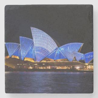 Australia Sydney Opera House At Night Stone Coaster