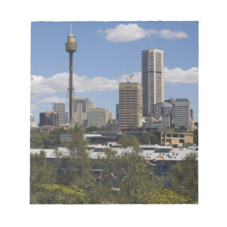Australia, Sydney, Potts Point. Sydney skyline. Notepad