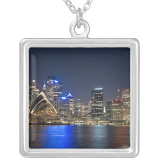 Australia, Sydney. Skyline with Opera House seen Silver Plated Necklace