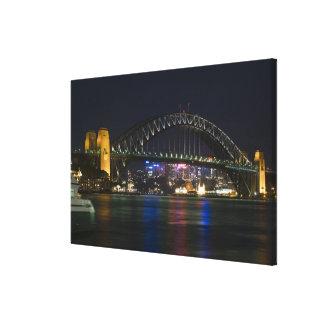 Australia, Sydney. Sydney harbor at night. Canvas Print