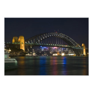 Australia, Sydney. Sydney harbor at night. Photo Print