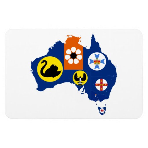 AUSTRALIA TERRITORIES MAP RECTANGULAR MAGNETS