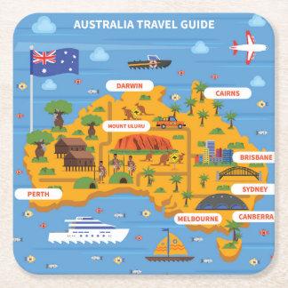 Australia Travel Guide Poster Square Paper Coaster