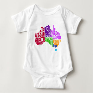 Australia Typographic Text Map Baby Bodysuit