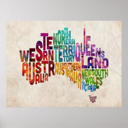 Australia Typographic Text Map Poster
