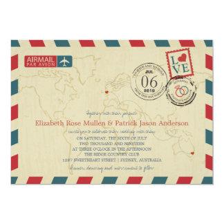 Australia / UK Antique Airmail | Wedding 13 Cm X 18 Cm Invitation Card