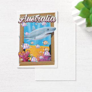 Australia Underwater shark travel poster Business Card