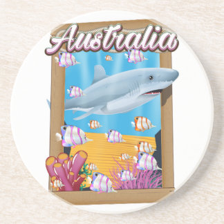 Australia Underwater shark travel poster Coaster