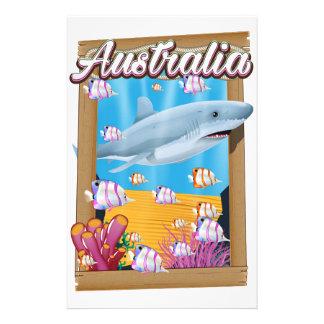 Australia Underwater shark travel poster Stationery