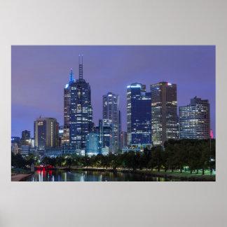 Australia, Victoria, Melbourne, skyline along Poster