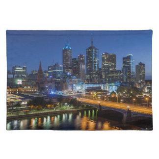 Australia, Victoria, Melbourne, skyline with Placemat
