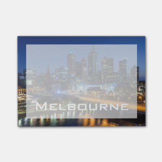 Australia, Victoria, Melbourne, skyline with Post-it Notes