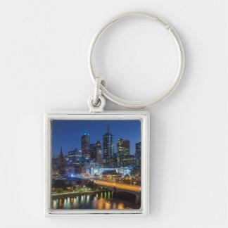Australia, Victoria, Melbourne, skyline with Silver-Colored Square Key Ring