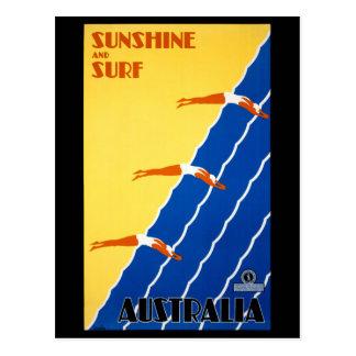 Australia Vintage Poster Restored Postcard
