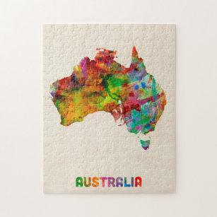 Australia Map Jigsaw.Australia Watercolor Map Jigsaw Puzzle