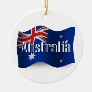 Australia Waving Flag Round Ceramic Decoration