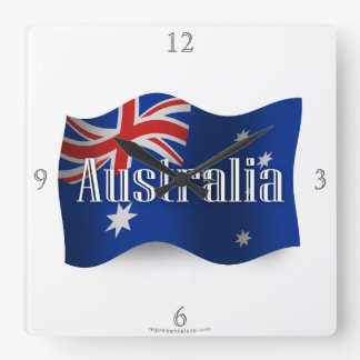 Australia Waving Flag Square Wall Clock