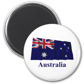 Australia Waving Flag with Name 6 Cm Round Magnet