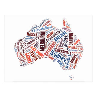 Australia Word Art Postcard