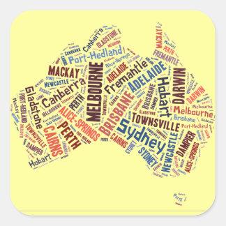 Australia Word Art Square Sticker