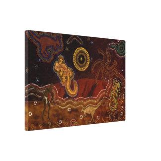 Australian Aboriginal Desert Heat & Wildlife Stretched Canvas Print