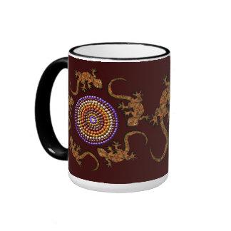 Australian Aboriginal Style Desert Art - Geckos Ringer Mug