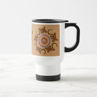 Australian Aboriginal Style Desert Art - Geckos Stainless Steel Travel Mug