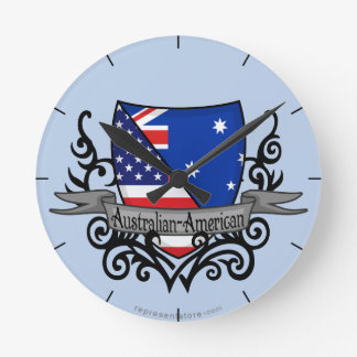 Australian-American Shield Flag Round Clock