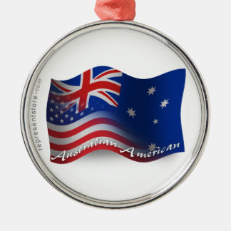 Australian-American Waving Flag Silver-Colored Round Decoration