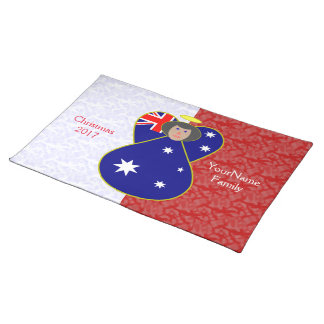Australian Angel Flag Black Hair Red White Placemat