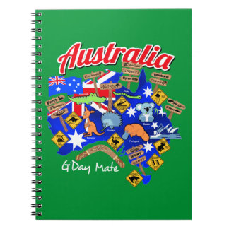 Australian animals and locations notebook