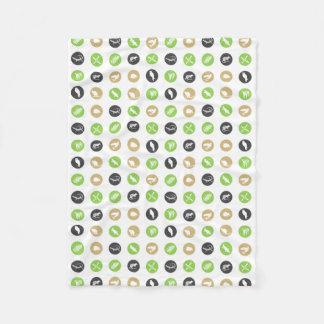 Australian animals polka dot blanket green