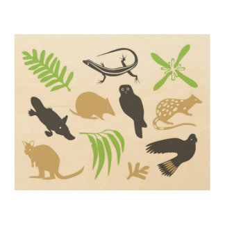 Australian animals wall art green