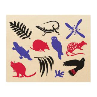 Australian animals wood canvas red blue