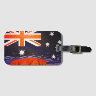 Australian ayers rock flag luggage tag