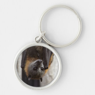 Australian Bat Silver-Colored Round Key Ring