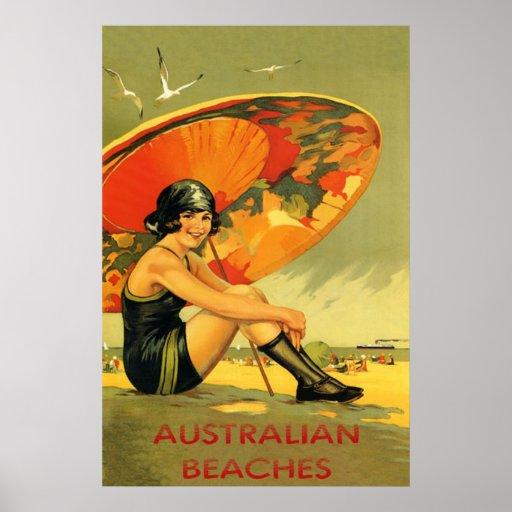 Australian Beaches Vintage Poster