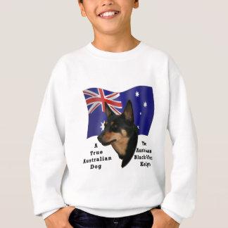 Australian Black and Tan Kelpie with Flag Sweatshirt