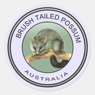 Australian brush tailed possum classic round sticker
