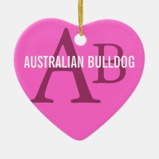 Australian Bulldog Monogram Ceramic Heart Decoration