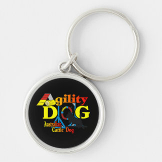 Australian Cattle Dog Agility Silver-Colored Round Key Ring